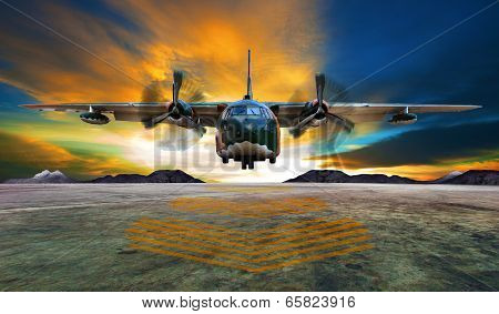 Military Plane Landing On Airforce Runways Against Beautiful Dusky Sky