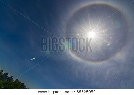 Ring Around Sun From Water Or Ash Particles On Blue Sky Background Over Montreal