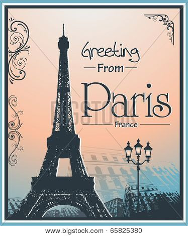 Copyspace Retro Style Poster With Paris Symbols and Landmarks