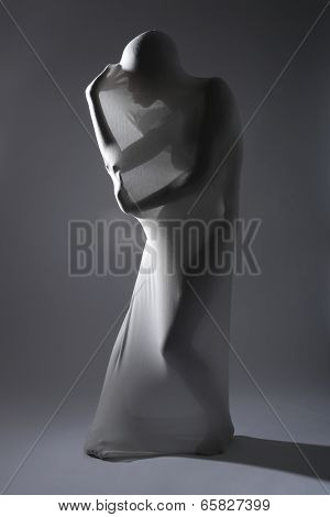 Fit Shapely Woman in Creative Light and Spandex Fabric