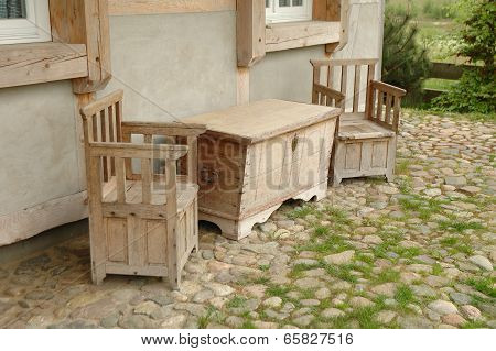 Wooden Chairs And Hutch