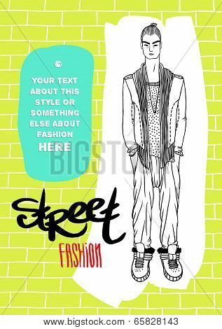 Vector template for your design: guy, street fashion, acid colors