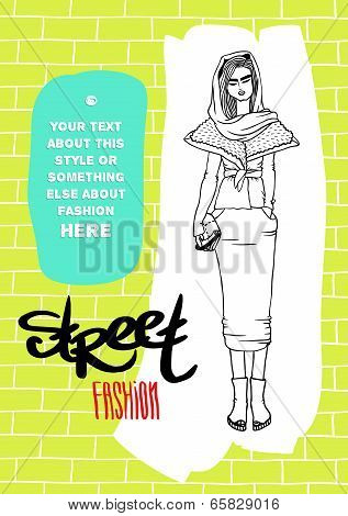 Vector template for your design: girl, street fashion, acid colors