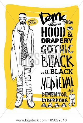 Vector black, white and yellow doodle set, dark fashion, cyberpunk, style