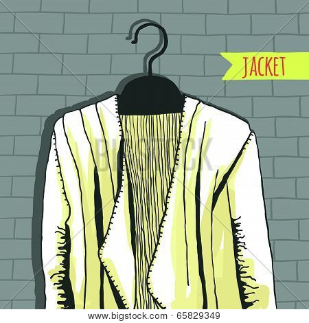 Vector illustration, jacket, brick wall