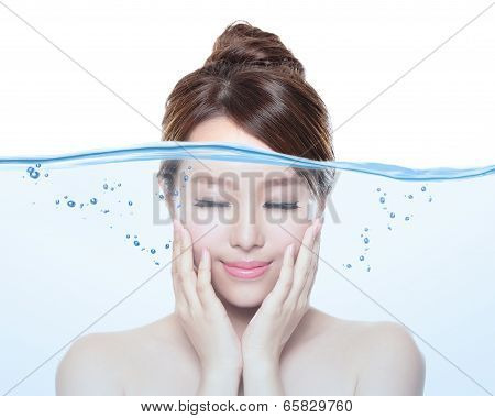 Woman Skin Care And Moisturizer Concept