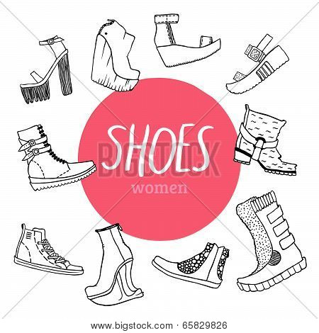 Black and white vector set with women's shoes and pink circle