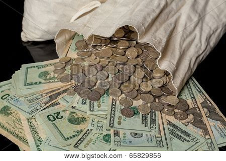 Many Us Dollar Bills Or Notes With Money Bag