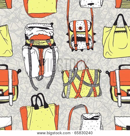 Seamless vector pattern with original bags, acid colors
