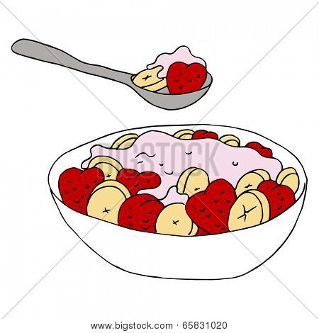 An image of a bowl of fruit and yogurt.