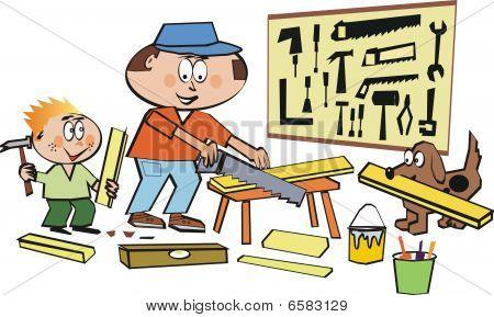 Home workshop cartoon
