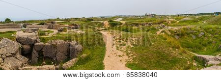 Old Broken German Bunkers Of Atlantic Wall On Pointe-du-hoc. Western End Of The Omaha Beach Sector,
