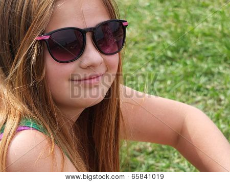 The Girl Long Hair Blonde Sitting Skin Peel Off Nose Round Face Outside