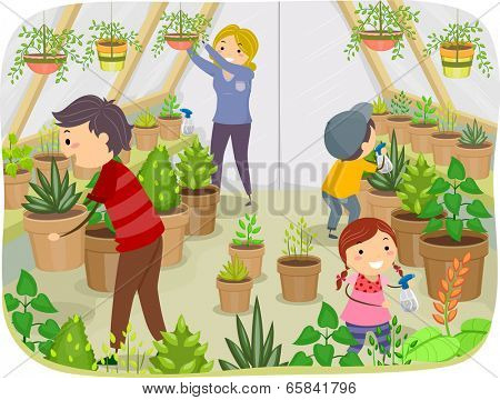 Illustration of a Family Working on Their Greenhouse
