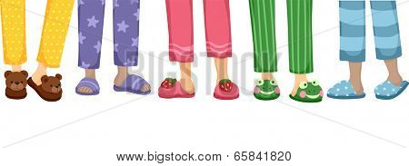 Cropped Illustration Featuring a Variety of Cute Slippers