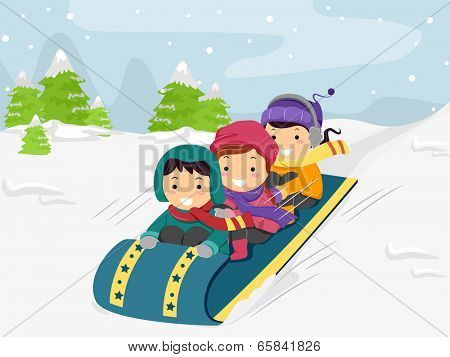Illustration of Kids Riding on a Snow Sled