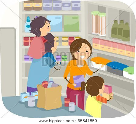 Illustration of a Family Stocking Their Shelves with Goods