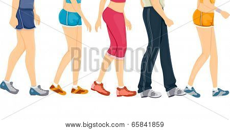 Cropped Border Illustration Featuring People Wearing Different Styles of Workout Clothes