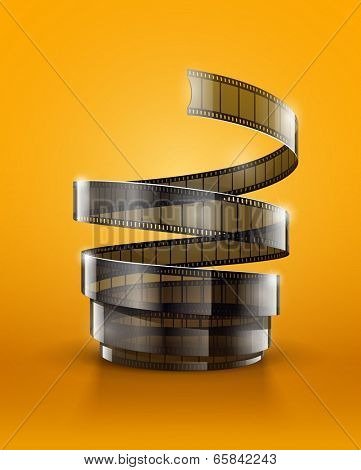 Spiral of cinematography film tape.