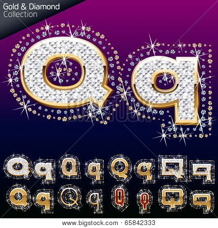 Shiny font of gold and diamond vector illustration. Letter q