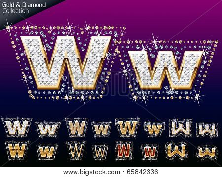 Shiny font of gold and diamond vector illustration. Letter w