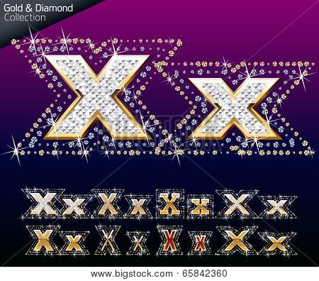 Shiny font of gold and diamond vector illustration. Letter x