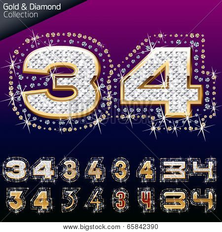 Shiny font of gold and diamond vector illustration. Number 3 - 4