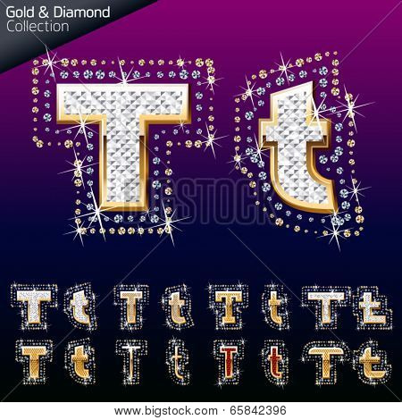 Shiny font of gold and diamond vector illustration. Letter t