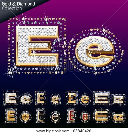 Shiny font of gold and diamond vector illustration. Letter e