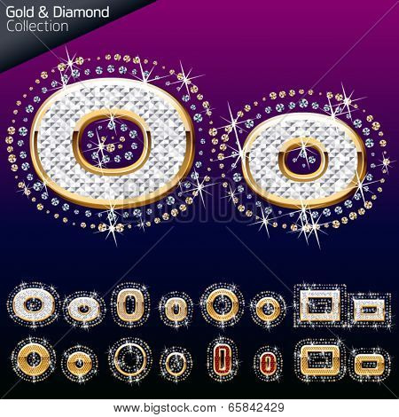 Shiny font of gold and diamond vector illustration. Letter o