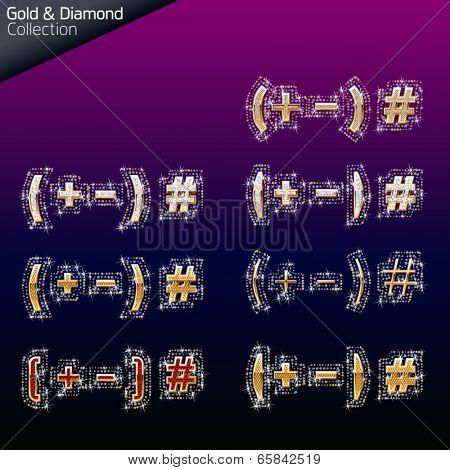 Shiny font of gold and diamond vector illustration. Symbol 4