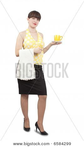 Waitress Girl With A Cup Of Coffee