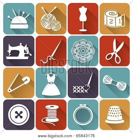 Sewing And Needlework Flat Icons Vector Set.