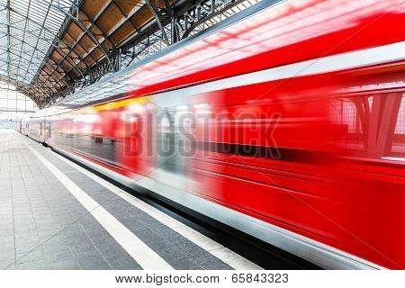 High speed train at station platform