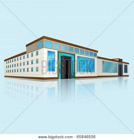 Shopping Center With Large Windows In Perspective