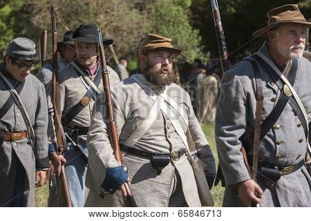 Confederate Reenactors On The March.