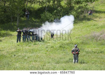 Union Army Reenactors In Mock Battle.