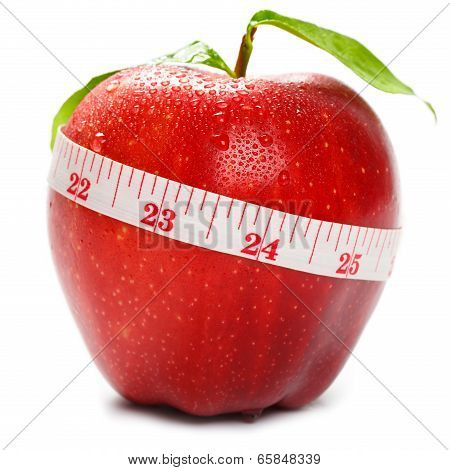 Closeup red apple with tapeline isolated over white