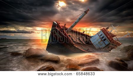 Fishing boat beached