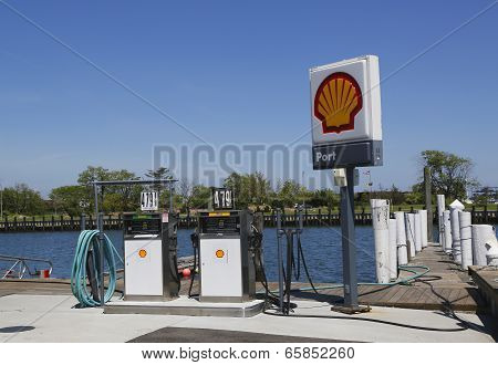 Shell fuel station for boats on the dock in Freeport, Long Island
