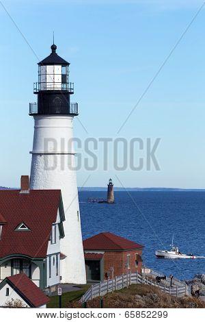 Portland, Maine - Portland Head Light and Ram Island Ledge Light