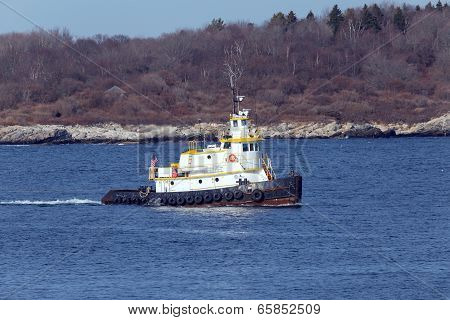 Tug boat in Maine channel