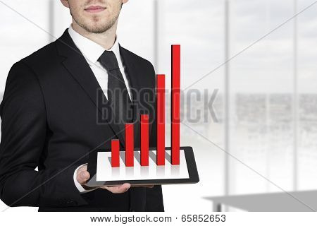 businessman holding tablet red bar graph