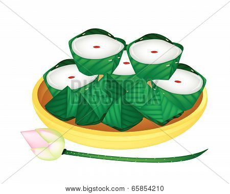 Delicous Stuffed Dough Pyramid Dessert With Chinese Pudding