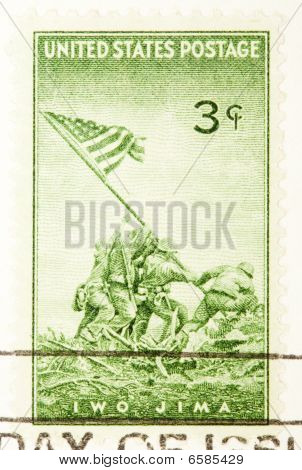 Usa - Circa 1945: A Stamp Printed By Usa Shows The Raising Of The Flag On My Surabachi On Iwo Jima D