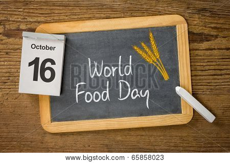 World Food Day written on a blackboard,  October 16