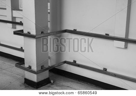Metal Handrail On Hospital Corridor