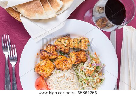 Chicken Shish Kebab With Rice Pilaf