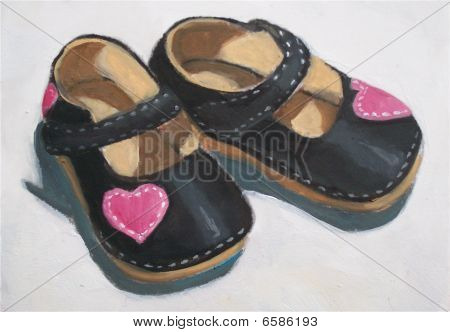 Painting of Little Girl's Shoes