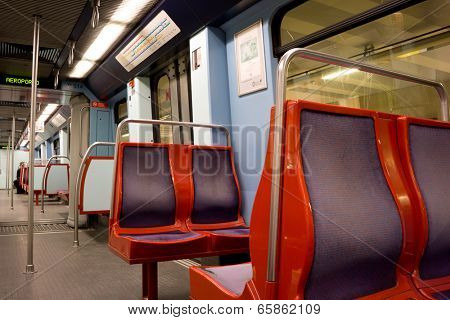 LISBON, PORTUGAL - MAY 26, 2014: An empty Lisbon Metro Car. The Lisbon Metro opened in 1959, it was the first subway system in Portugal. It consists of 4 lines and 55 stations.